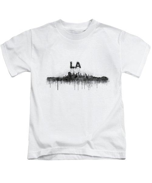 Los Angeles City Skyline Hq V5 Bw Kids T-Shirt by HQ Photo