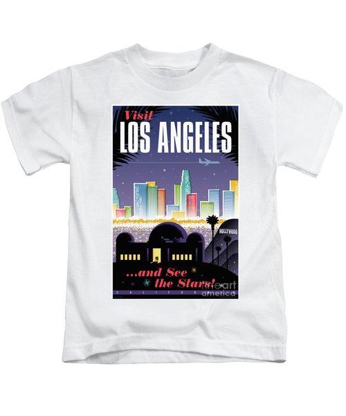 Los Angeles Retro Travel Poster Kids T-Shirt by Jim Zahniser