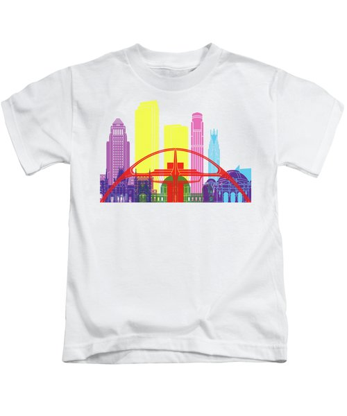 Los Angeles Skyline Pop Kids T-Shirt by Pablo Romero