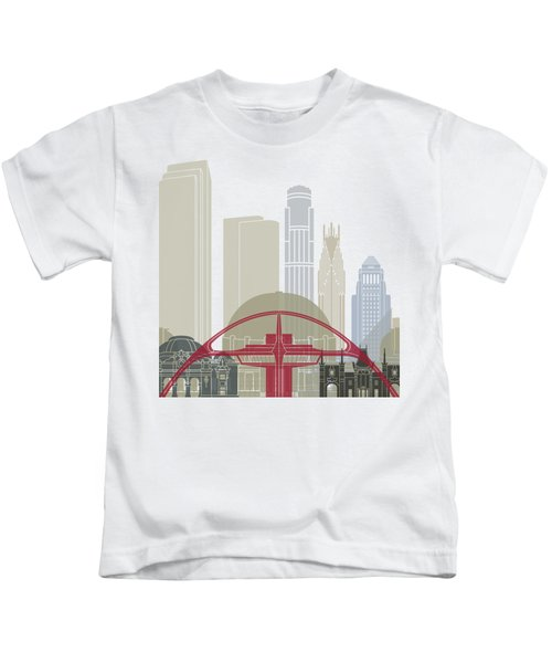 Los Angeles Skyline Poster Kids T-Shirt by Pablo Romero