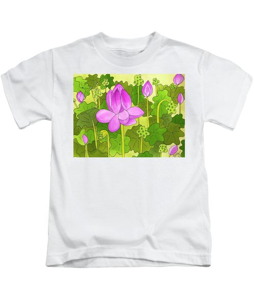 Lotus And Waterlilies Kids T-Shirt