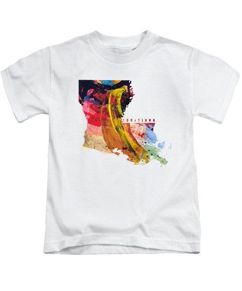 Louisiana Map Art - Painted Map Of Louisiana Kids T-Shirt