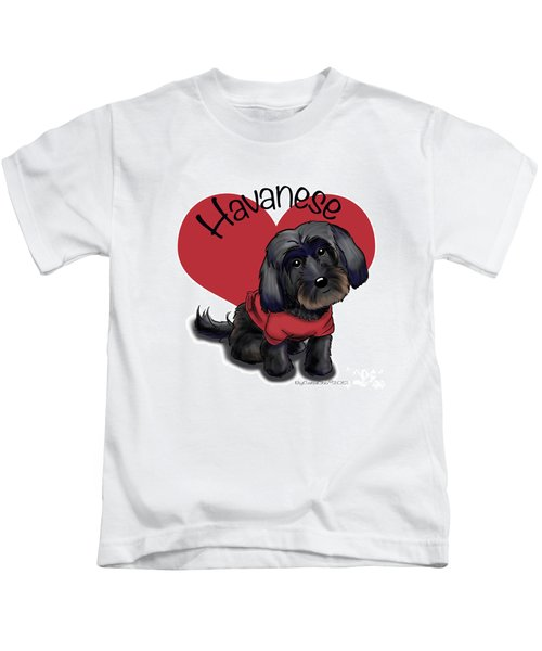 Lovable Black Havanese Kids T-Shirt