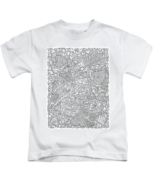 Love And Chrysanthemum Filled Hearts Vertical Kids T-Shirt by Tamara Kulish
