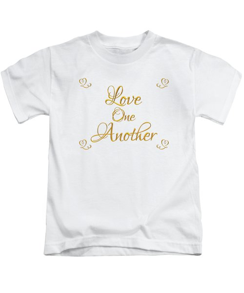 Love One Another Golden 3d Look Script Kids T-Shirt