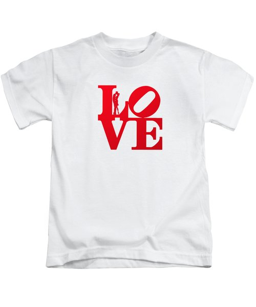 Love Typography - Red On White Kids T-Shirt