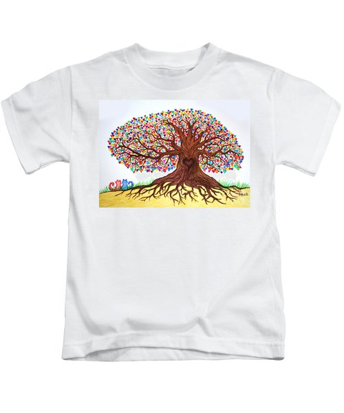 Love Under The Tree Of Hearts Kids T-Shirt
