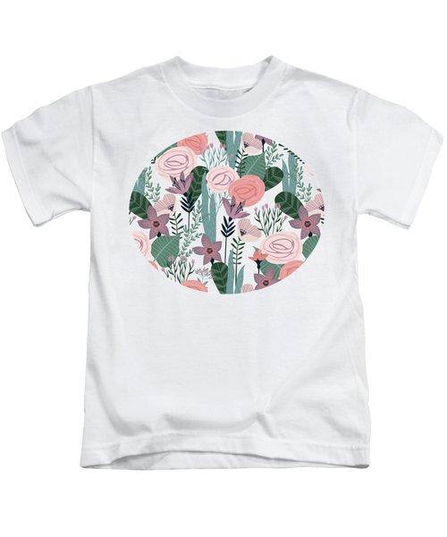 Lovely Mid Century Rose Garden Flower Pattern Kids T-Shirt