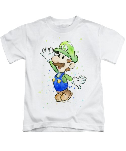 Luigi Watercolor Kids T-Shirt