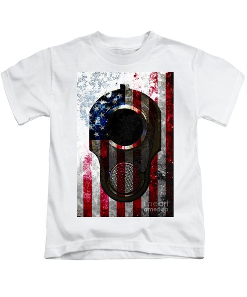 M1911 Colt 45 Muzzle And American Flag On Distressed Metal Sheet Kids T-Shirt