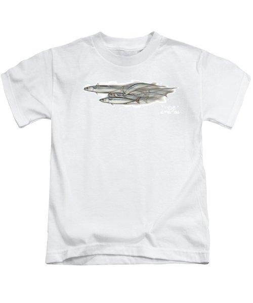 Mackerel School Of Fish - Scomber - Nautical Art - Seafood Art - Marine Art -game Fish Kids T-Shirt