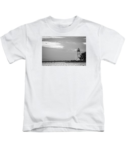 Madisonville Lighthouse In Black-and-white 2 Kids T-Shirt