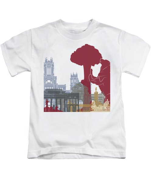 Madrid Skyline Poster Kids T-Shirt