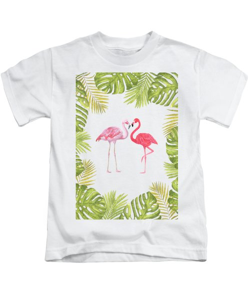Magical Tropicana Love Flamingos And Leaves Kids T-Shirt
