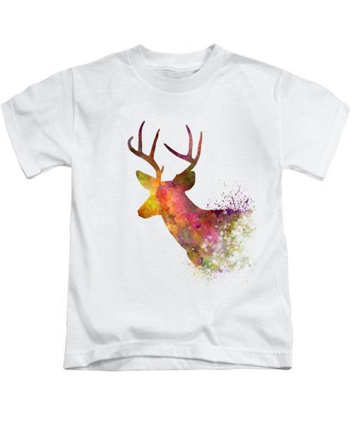 Male Deer 02 In Watercolor Kids T-Shirt by Pablo Romero