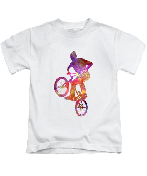 Man Bmx Acrobatic Figure In Watercolor Kids T-Shirt