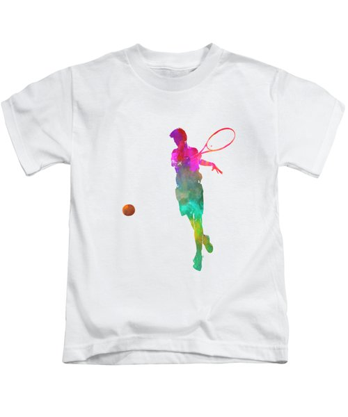 Man Tennis Player 01 In Watercolor Kids T-Shirt by Pablo Romero