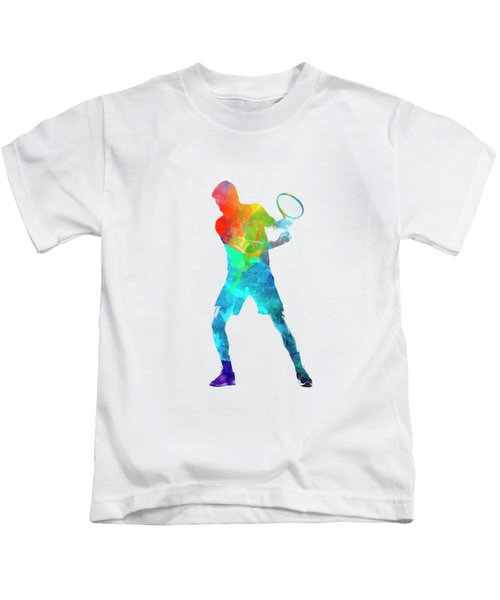 Man Tennis Player 02 In Watercolor Kids T-Shirt by Pablo Romero