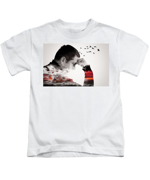 Man Thinking Double Exposure With Birds Kids T-Shirt