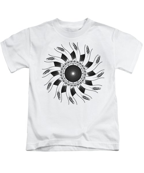Mandala Black And White Kids T-Shirt