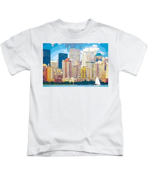 Manhattan Skyline New York City Kids T-Shirt