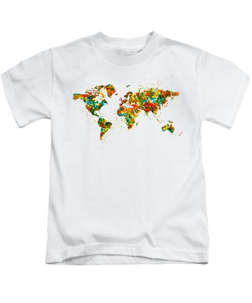 Map Of The World Watercolor Kids T-Shirt