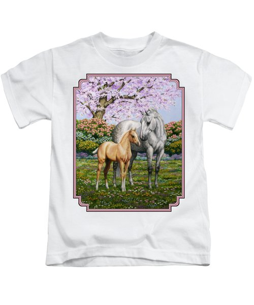 Mare And Foal Pillow Pink Kids T-Shirt by Crista Forest