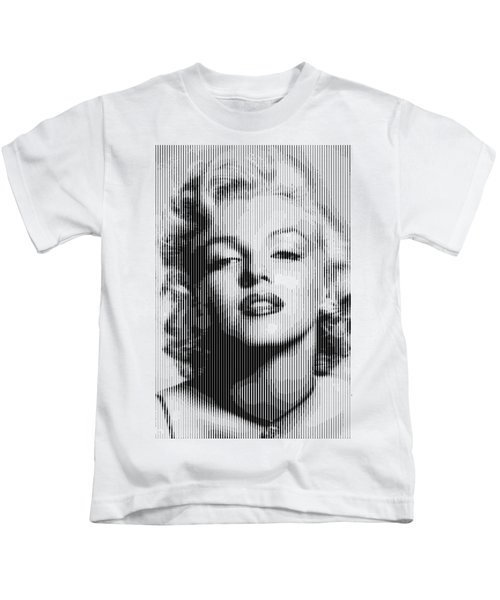 Marilyn Monroe - Bw Verticals  Kids T-Shirt by Samuel Majcen
