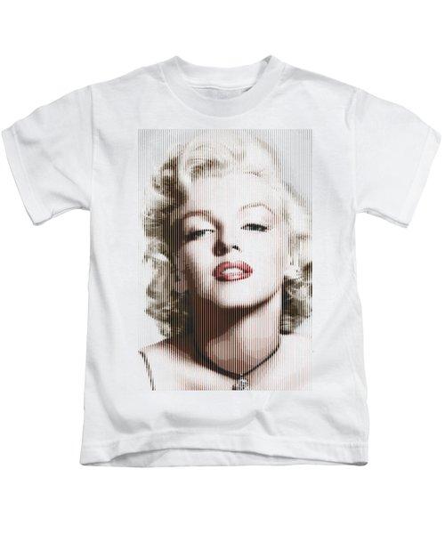 Marilyn Monroe - Colored Verticals Kids T-Shirt by Samuel Majcen