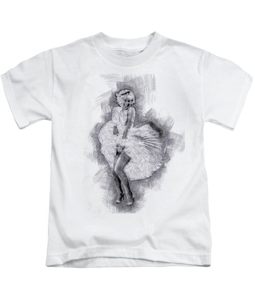 Marilyn Monroe Portrait 03 Kids T-Shirt by Pablo Romero