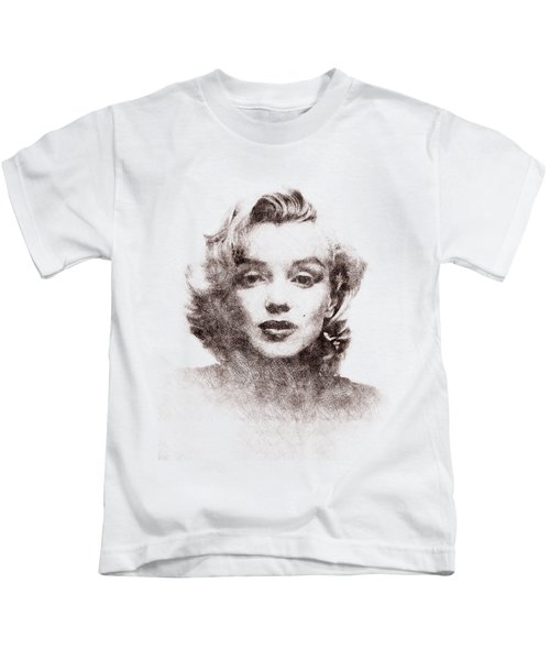 Marilyn Monroe Portrait 04 Kids T-Shirt by Pablo Romero