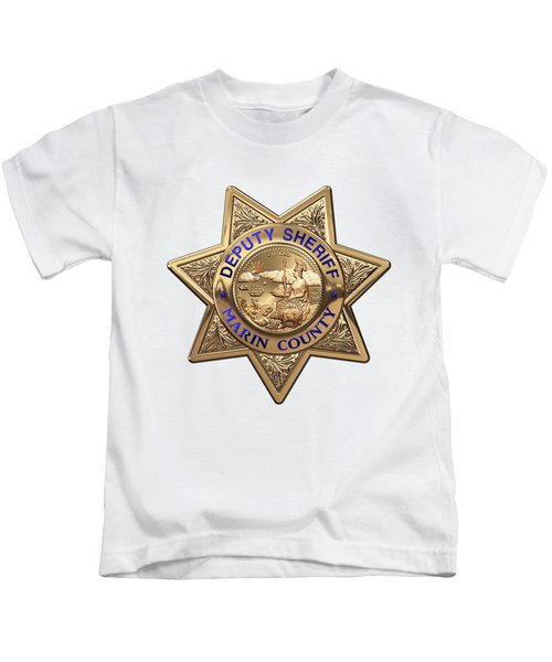 Marin County Sheriff Department - Deputy Sheriff Badge Over White Leather Kids T-Shirt