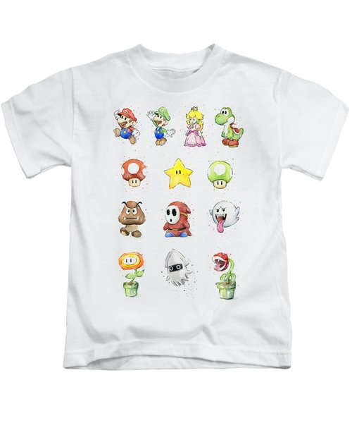 Mario Characters In Watercolor Kids T-Shirt by Olga Shvartsur