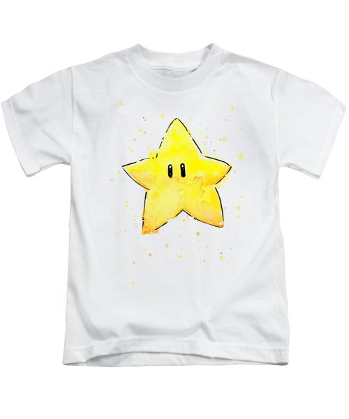 Mario Invincibility Star Watercolor Kids T-Shirt