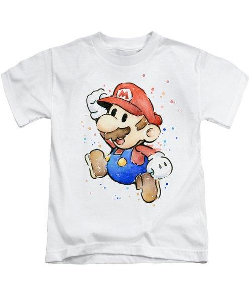 Mario Watercolor Fan Art Kids T-Shirt by Olga Shvartsur