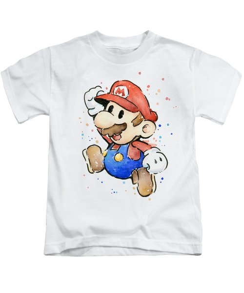 Mario Watercolor Fan Art Kids T-Shirt
