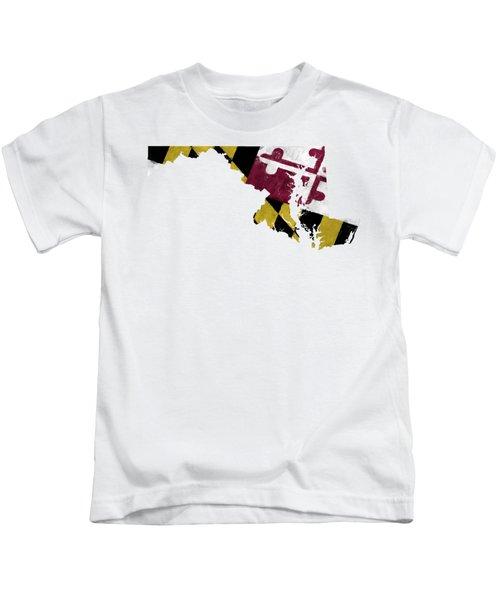 Maryland Map Art With Flag Design Kids T-Shirt
