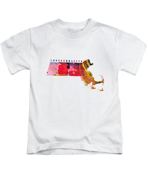 Massachusetts Map Art - Painted Map Of Massachusetts Kids T-Shirt