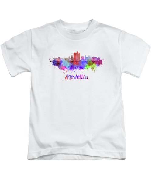 Medellin Skyline In Watercolor Kids T-Shirt