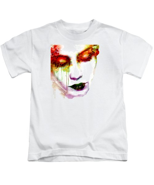 Melancholy In Watercolor Kids T-Shirt by Marian Voicu