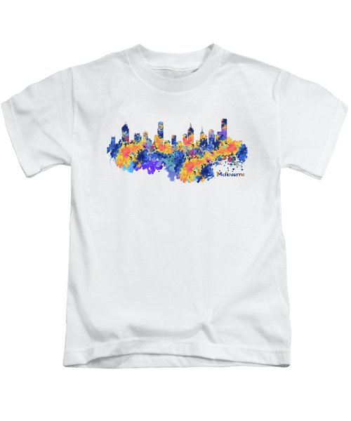 Melbourne Watercolor Skyline Kids T-Shirt