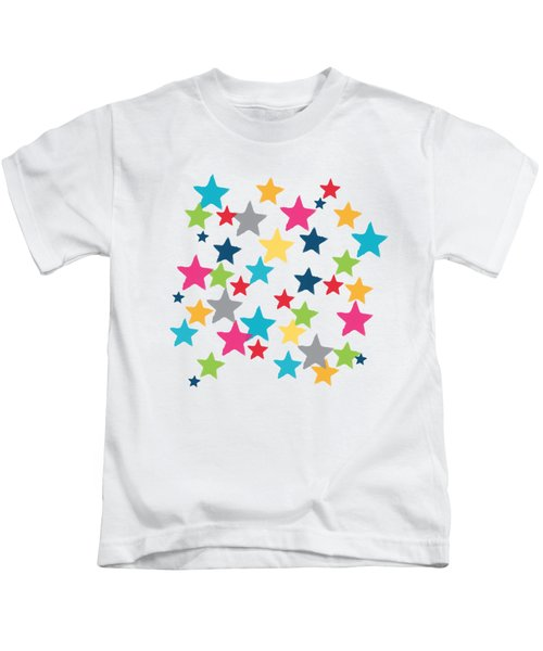 Messy Stars- Shirt Kids T-Shirt by Linda Woods