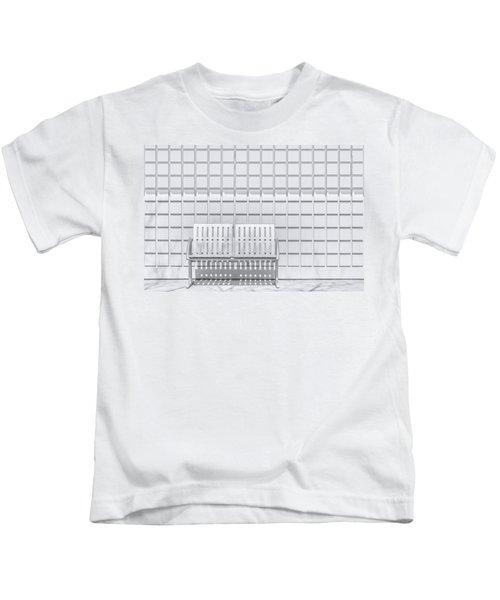 Metal Bench Against Concrete Squares Kids T-Shirt