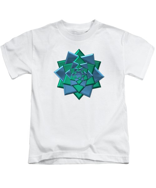 Metallic Blue And Green 3-d Look Gift Bow Kids T-Shirt