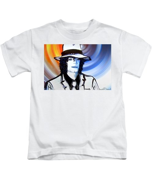 Michael Jackson White Fedora Alcohol Inks Kids T-Shirt