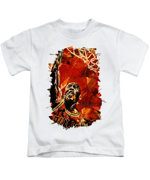 Michael Jordan Kids T-Shirt by Maria Arango