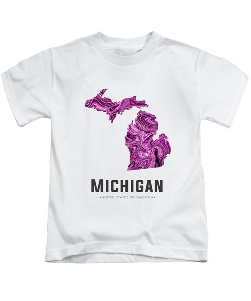 Michigan Map Art Abstract In Purple Kids T-Shirt