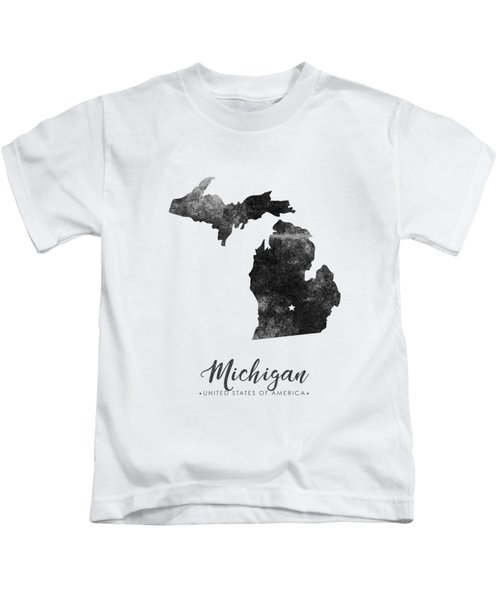 Michigan State Map Art - Grunge Silhouette Kids T-Shirt