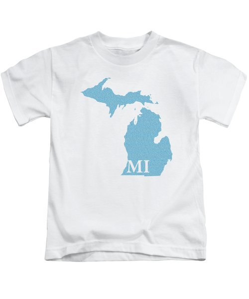 Michigan State Map With Text Of Constitution Kids T-Shirt by Design Turnpike
