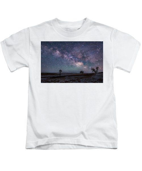 Milky Way Over The Prairie Kids T-Shirt